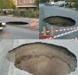 8 метрова яма зейна на път в Русия