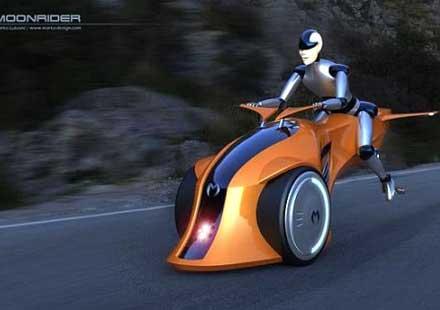 Хибриден мотоциклет лети над пътя с реактивен двигател