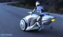 Хибриден мотоциклет лети над пътя с реактивен двигател 03
